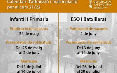 Educació publica el calendari d'admissió i matriculació per al pròxim curs