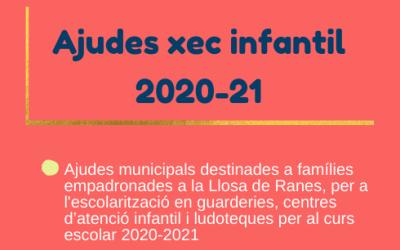 """L'Ajuntament de la Llosa de Ranes convoca les ajudes """"Xec Infantil"""" 2020-21"""