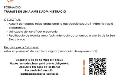L'escola ciutadana Toni Cabezón organitza un curs formatiu sobre els tràmits en línia amb l'administració