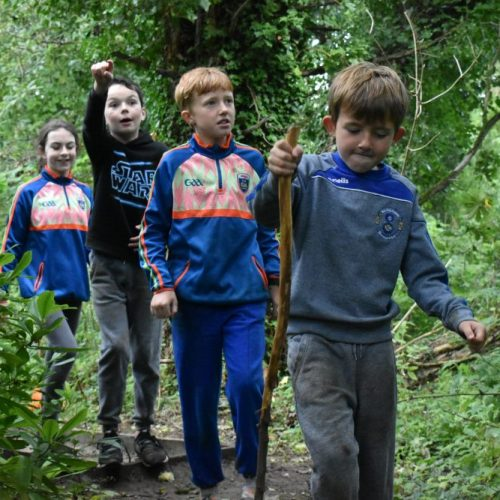 Four kids going on a Nature Walk during their Midterm Camp in private forest of Carton House run by Xtreme.ie.