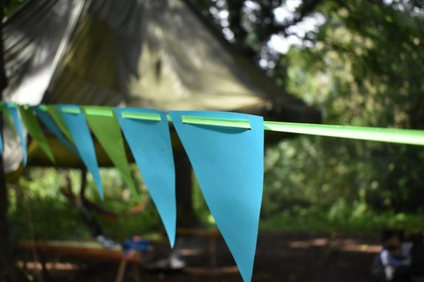 Bunting set up around Base Camp at Xtreme.ie's Bushcraft Birthday Parties on the private grounds of Carton House.