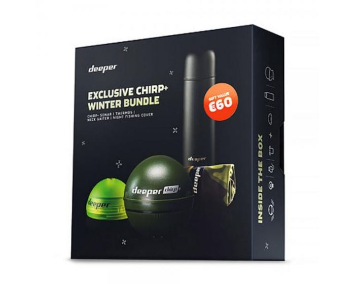 Het speciaal geprijsde pakket bestaat uit: • 1x Deeper CHIRP+ • 1x Thermos fles • 1x Nekwarmer • Fluo-Green Night Cover