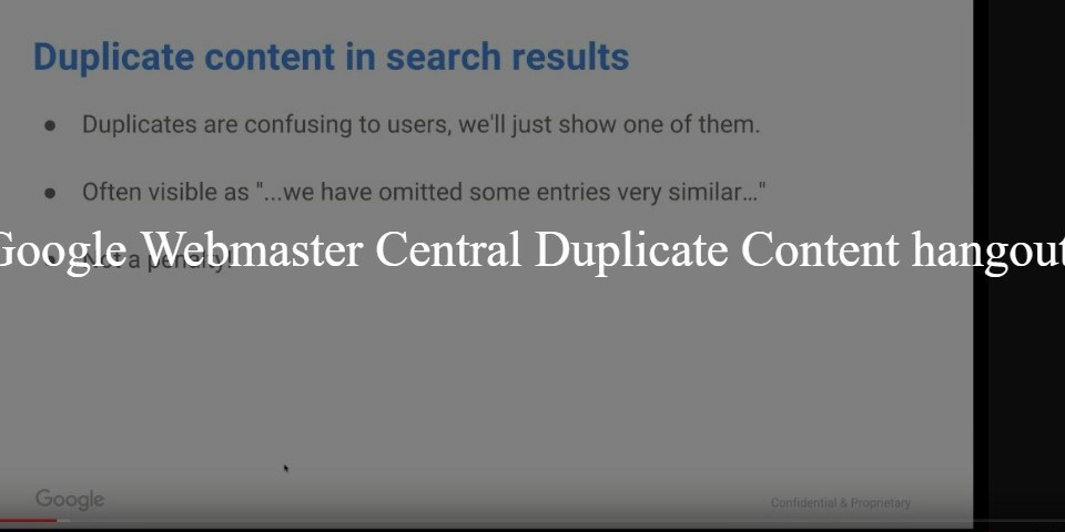 English Google Webmaster Central Duplicate Content office-hours hangout