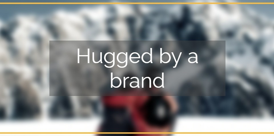 hugged by a brand