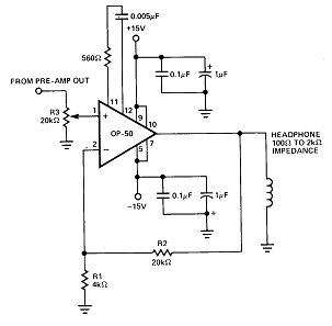Circuit amplifier for head phone op-50 op amp