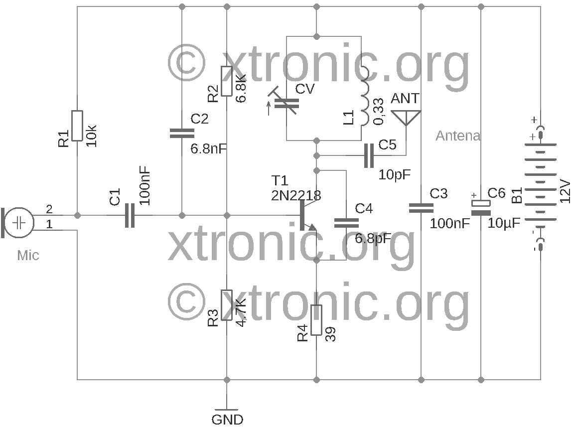 fm wireless microphone circuit diagram 2007 dodge caliber belt routing of power transmitter transistor 2n2218 audio