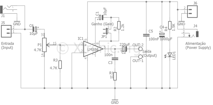 Circuit audio power amplifier circuit IC LM386 PCB include