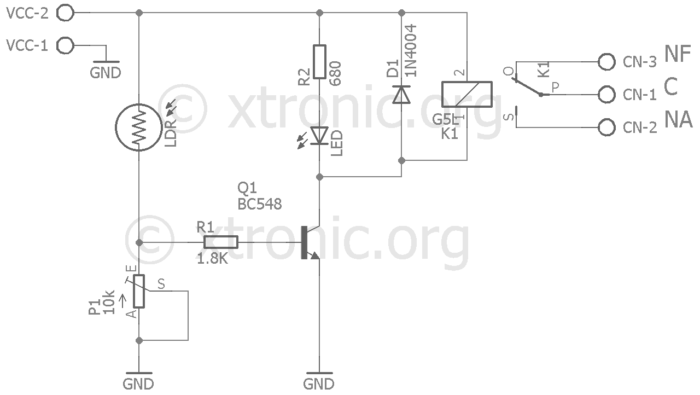 Module Circuit light sensor with LDR (Light Dependent