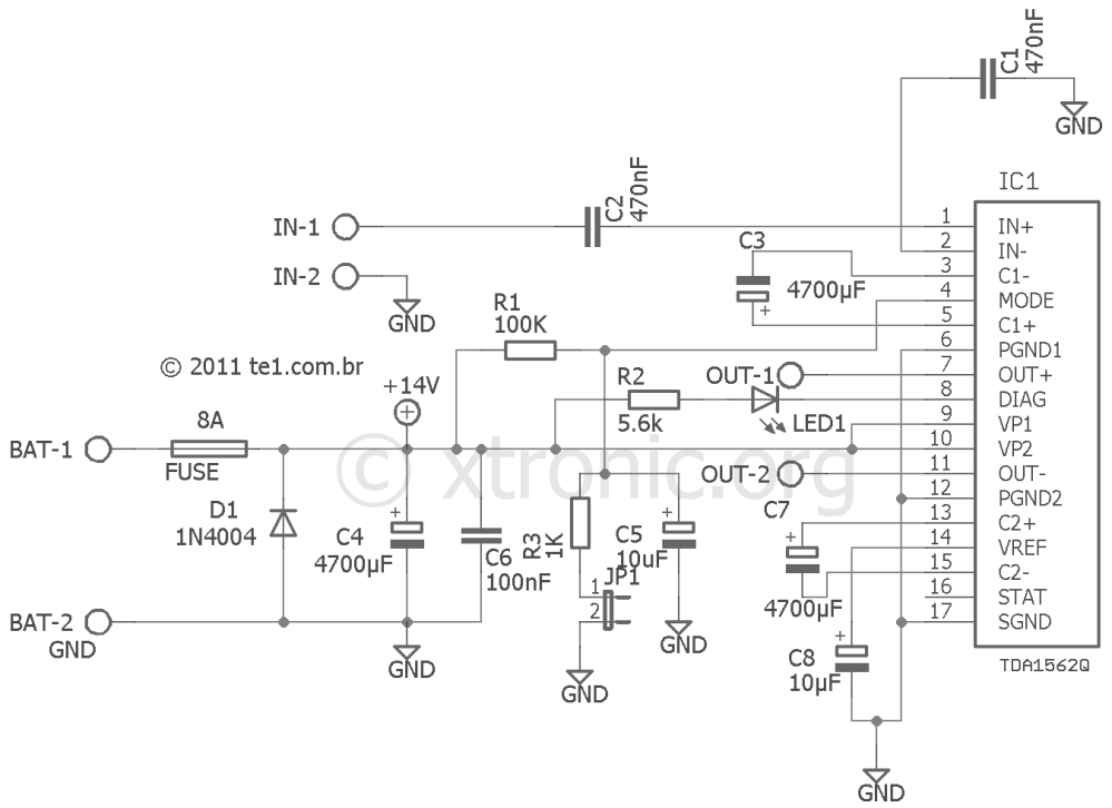 medium resolution of car audio amplifier circuit with ic tda1562 70 w xtronic free project circuit diagram tda7850 car power amplifier circuit