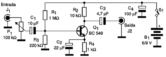 Circuit audio preamplifier with a BC549 transistor