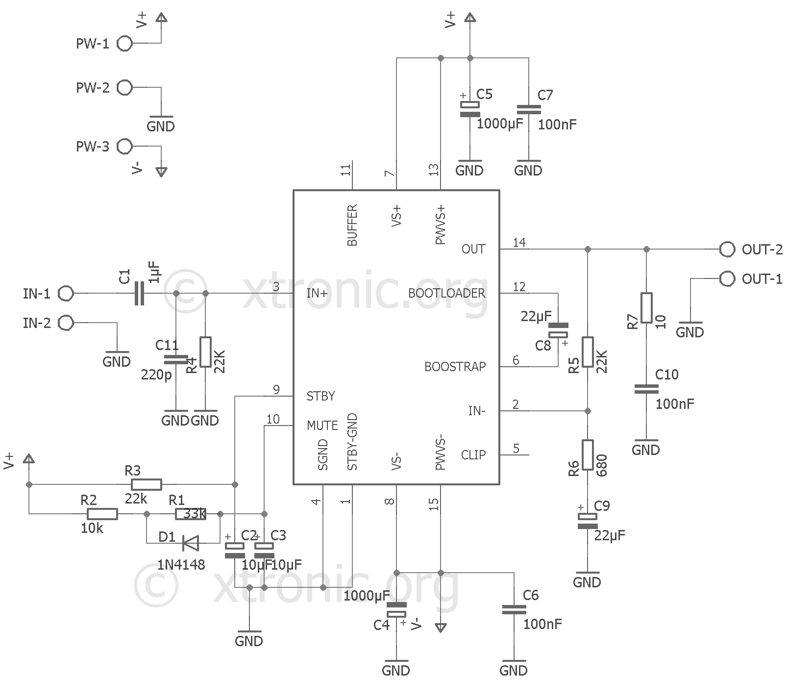 hight resolution of audio amplifier mono with ic tda7293 100 watts xtronic tda7294 power audio circuit diagram electronic design