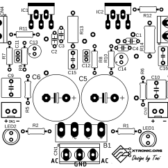 Audio Amplifier Circuit Diagram With Layout Fishbone Template Health Care Power Stereo Lm1875 2 X 20 Watt Xtronic Pcb Silk1 700x346