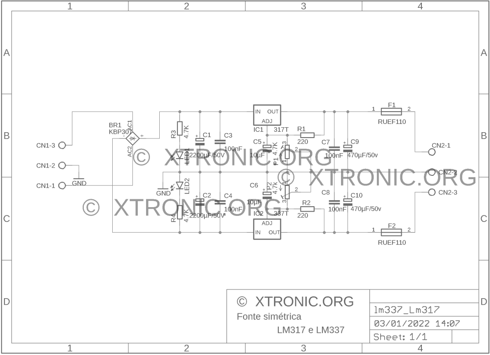 medium resolution of lm337 lm317 regulated symmetrical power supply circuit 700x508 adjustable symmetrical power supply with lm317 and lm337