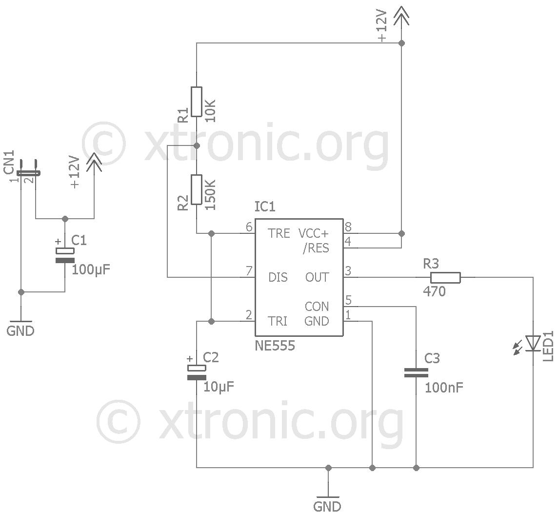 car alarm wiring diagram guitar chords for beginners fake circuit  555 led flash xtronic
