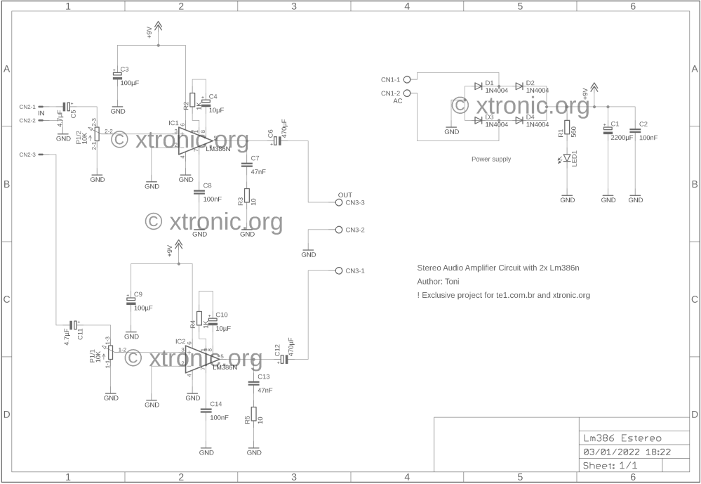 medium resolution of stereo audio amplifier lm386 schematic 700x482 simple circuit stereo audio amplifier with ic lm386 power supply