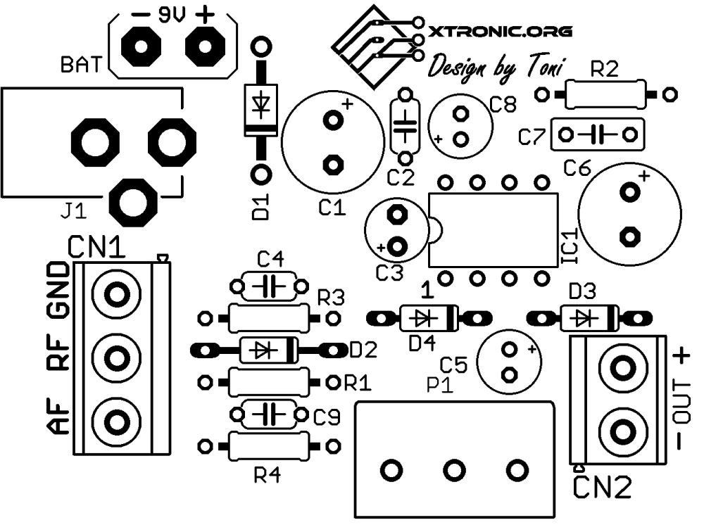 medium resolution of  circuit lm386 audio rf probe amplifier pcb silk