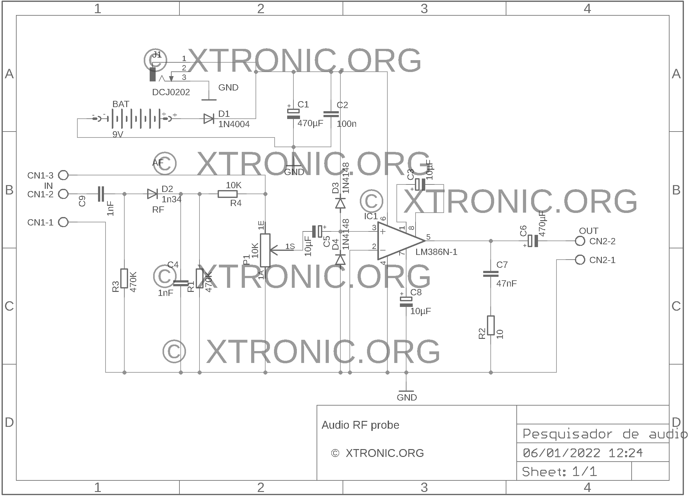 Circuit LM386 Audio And RF Probe Amplifier