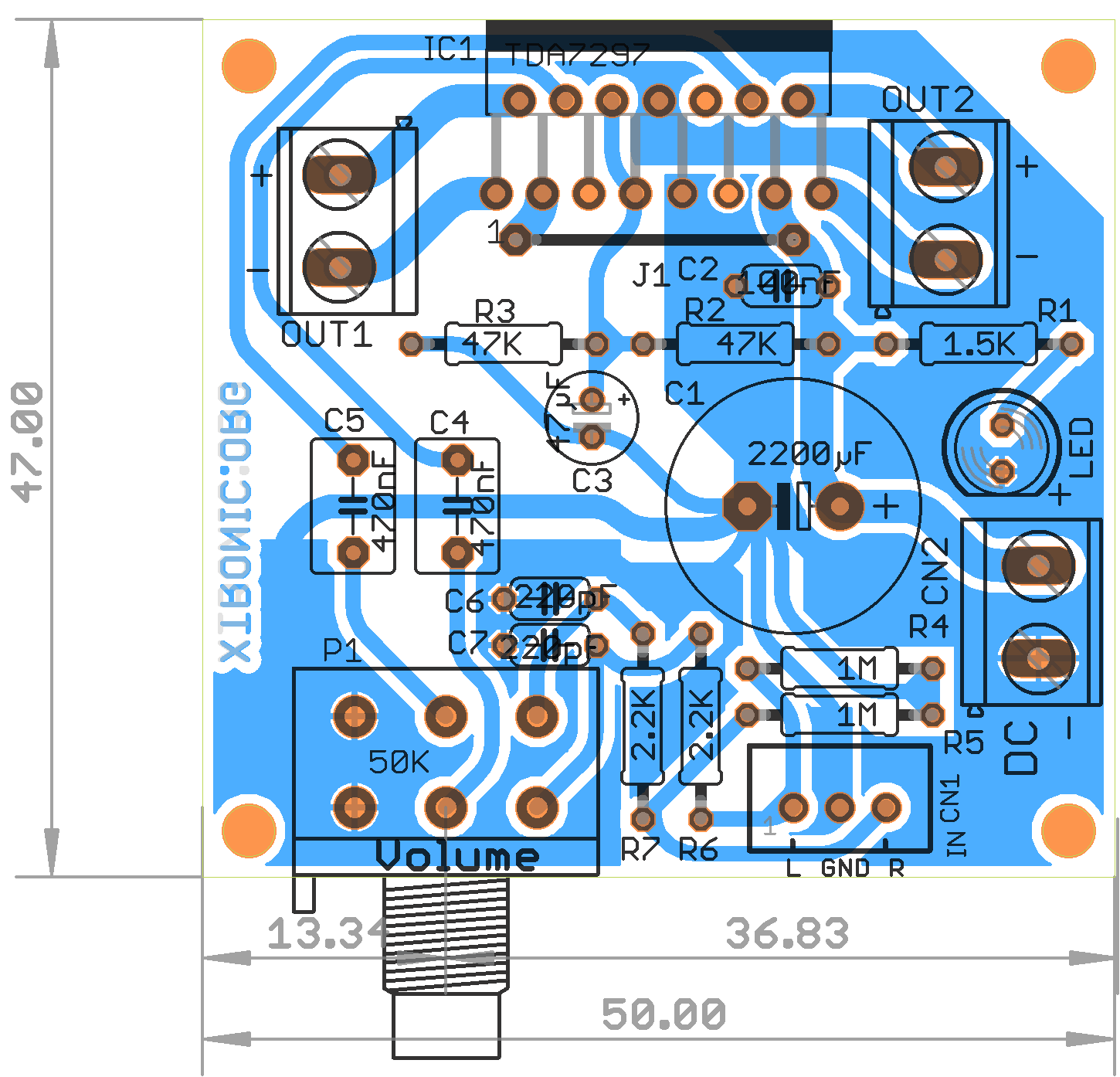 audio amplifier circuit diagram with layout iron carbon explanation stereo power tda7297 2 x 15 watts xtronic pcb 700x744