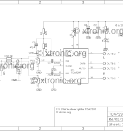 stereo power audio amplifier with tda7297 2 x 15 watts xtronic april 2012 amp circuit diagram [ 1800 x 1306 Pixel ]