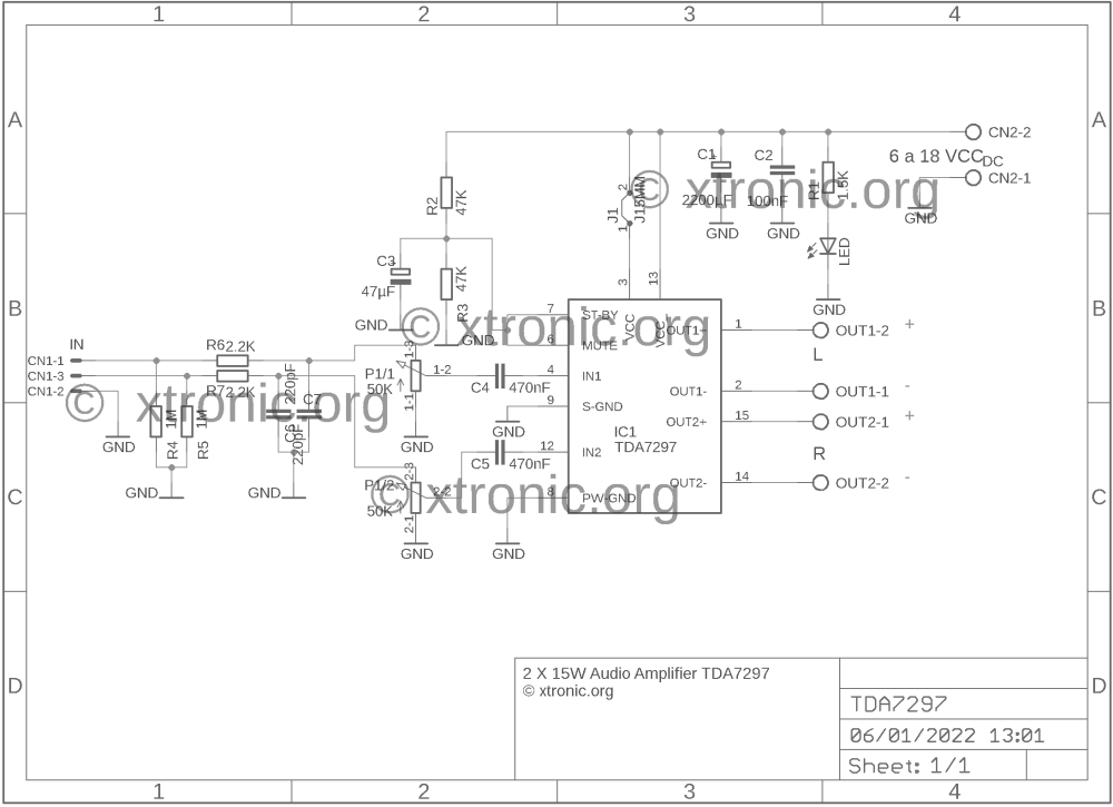 medium resolution of stereo power audio amplifier with tda7297 2 x 15 watts xtronic april 2012 amp circuit diagram