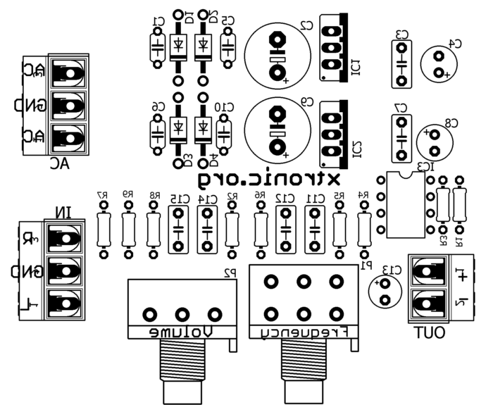 Circuit adjustable bass filter from 50 Hz to 150 Hz NE5532