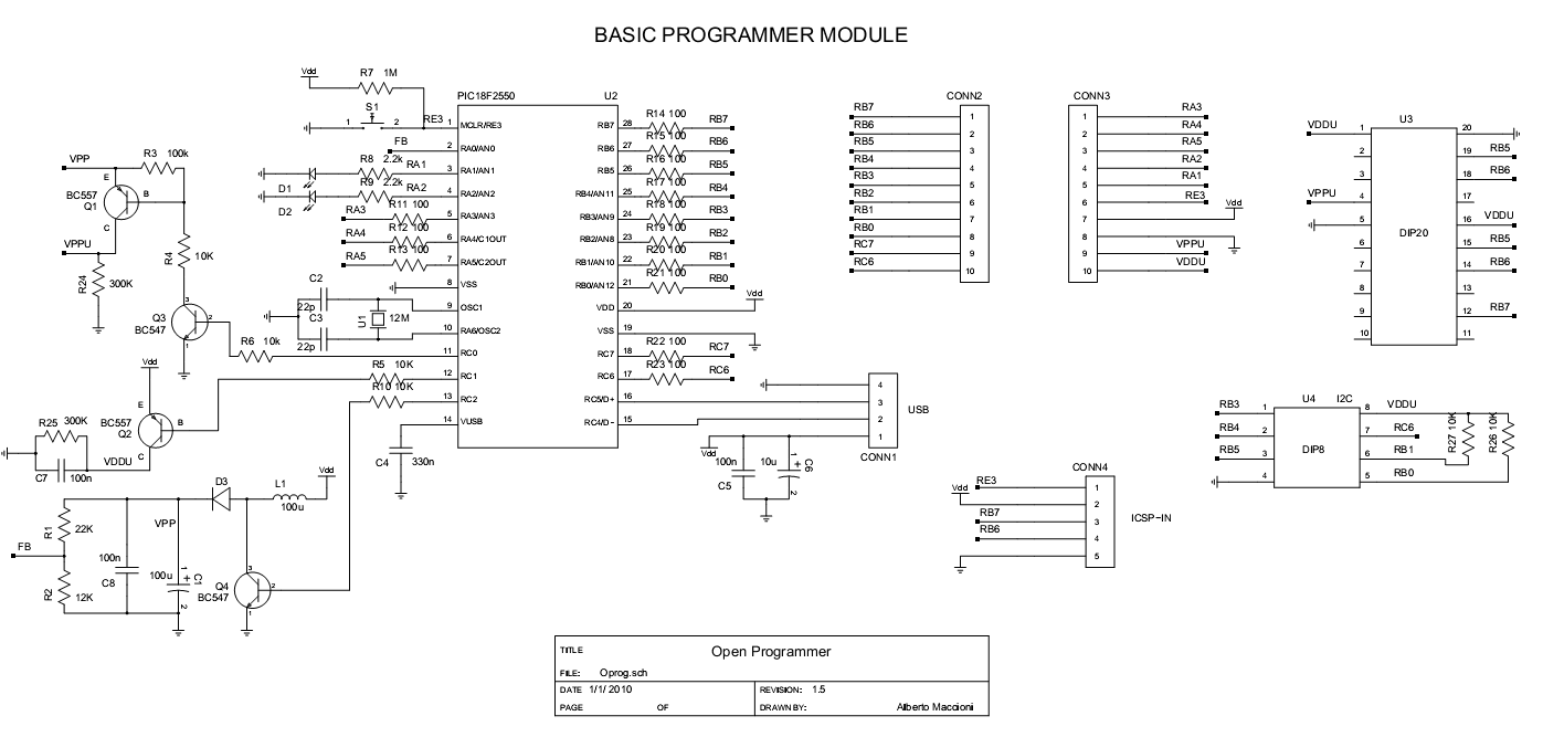 usb eeprom programmer schematic