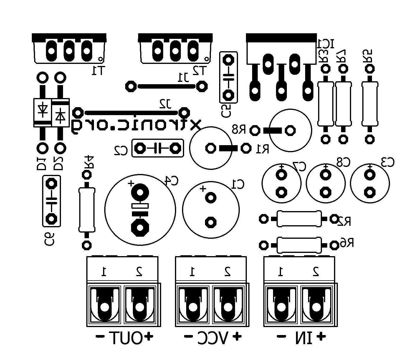 hight resolution of  layout tda2030 transistors bd908 bd907 18w amplifier pcb silk