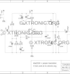 tda2030 transistors bd908 bd907 18w hi fi audio amplifier xtronic tip41 tip42 amplifier circuit diagram [ 1800 x 1306 Pixel ]