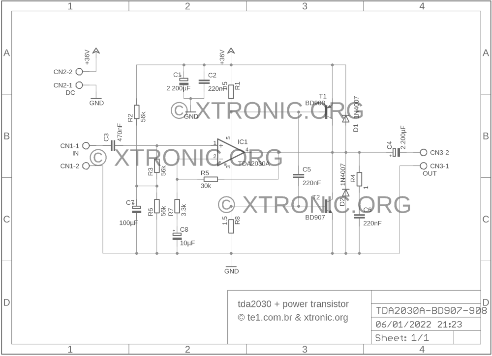 medium resolution of tda2030 transistors bd908 bd907 18w hi fi audio amplifier xtronic tip41 tip42 amplifier circuit diagram