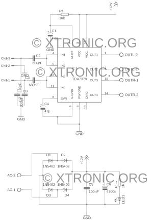 Circuit stereo power amplifier IC TDA7379 38W  Xtronic
