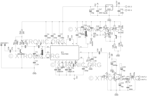 small resolution of schematic of the fm radio circuit with tda7000