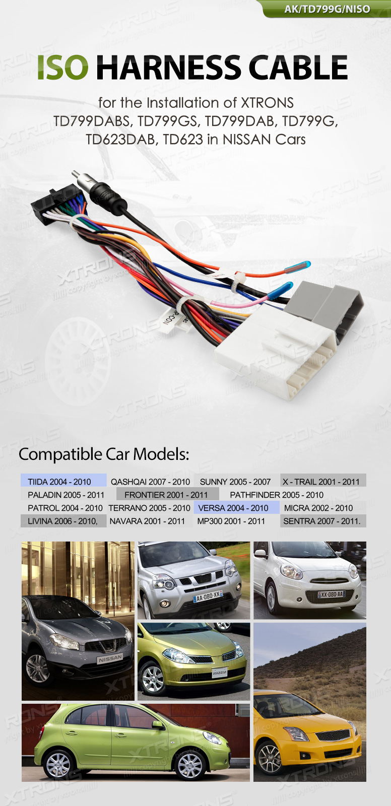 medium resolution of car stereo radio iso lead wiring harness cable for nissan cars td799dab td799g