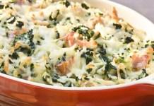 Arroz de forno com presunto cozido espinafre e mussarela