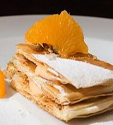 Receita de Folhado de tangerina com farofa de pistache