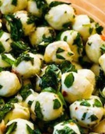 Receita de Mozzarella Marinadas