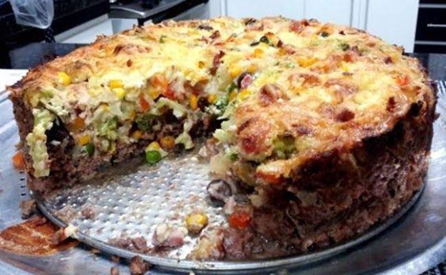 Receita de Torta de carne e legumes