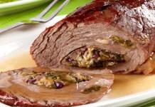 Receita Fácil de Carne Assada Recheada com Escarola e Queijo