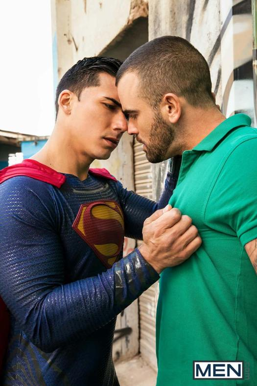 Gay superman kissing a man