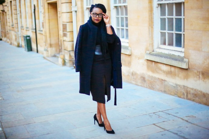How I wear a high waisted pencil skirt, iamnrc, how to wear a pencil skirt, reiss coat, wrap coat, black uk fashion blogger