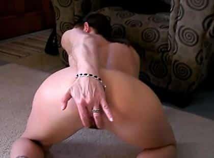Fingering her asshole on web cam