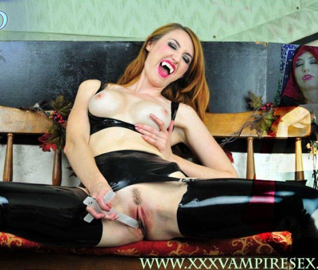 Fetish Vamp Burns Pussy With Cross Latex Sex Vampire