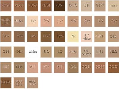 couleurs fond de teint