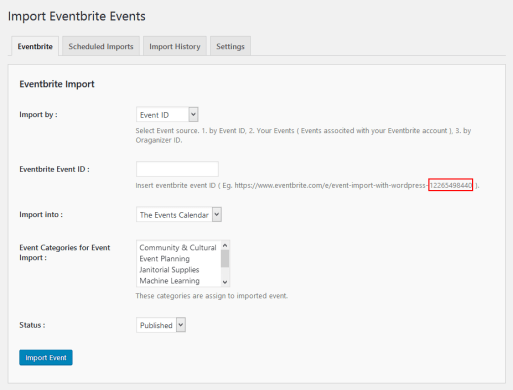 Import Eventbrite events by Event ID.