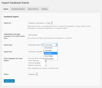 Import Facebook events by Organization/Page ID