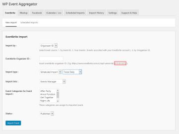 Eventbrite event import using Organizer ID.