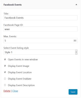 Facebook events widget.