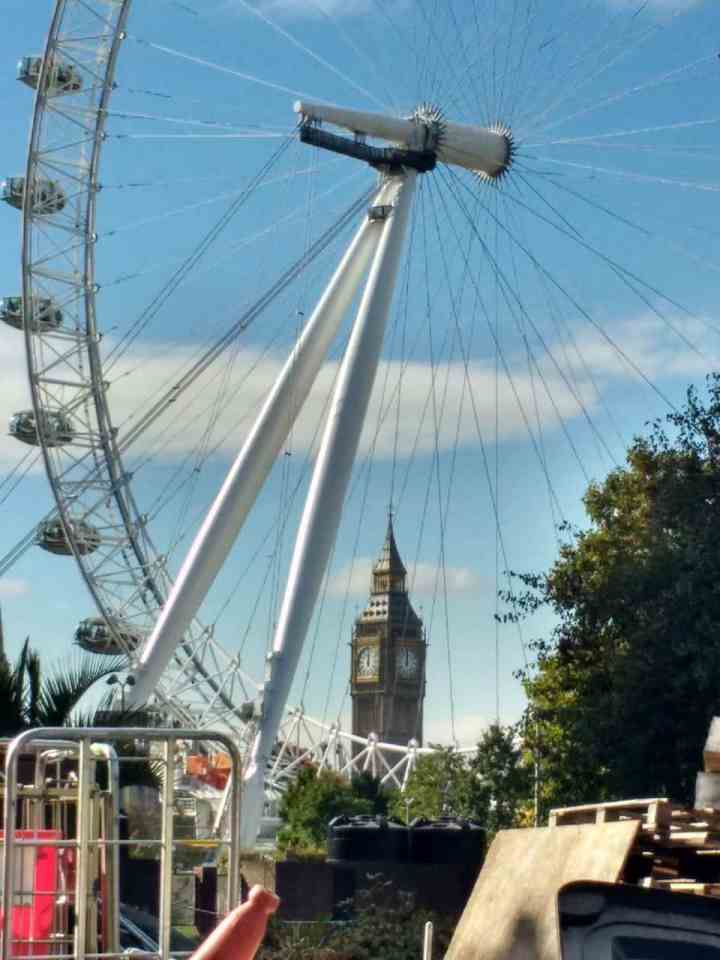 The London Eye with a view to Big Ben