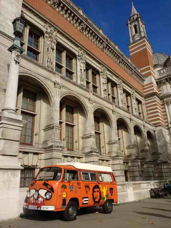 a VW bus from the 60's on display at the V&A