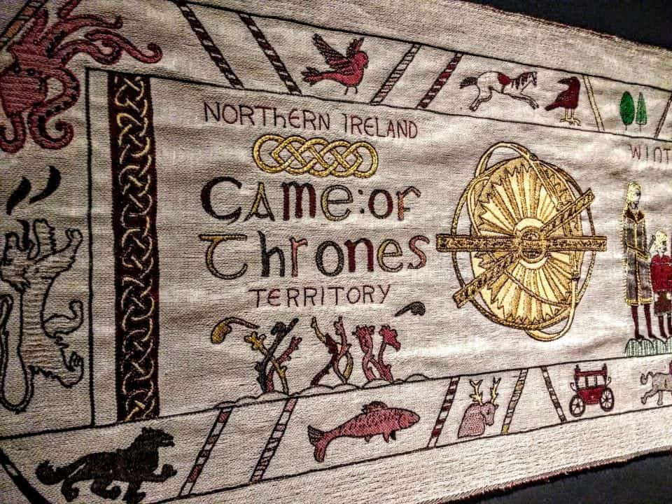 The first panel of the Tapestry spells out the Northern Ireland Game of Thrones Territory