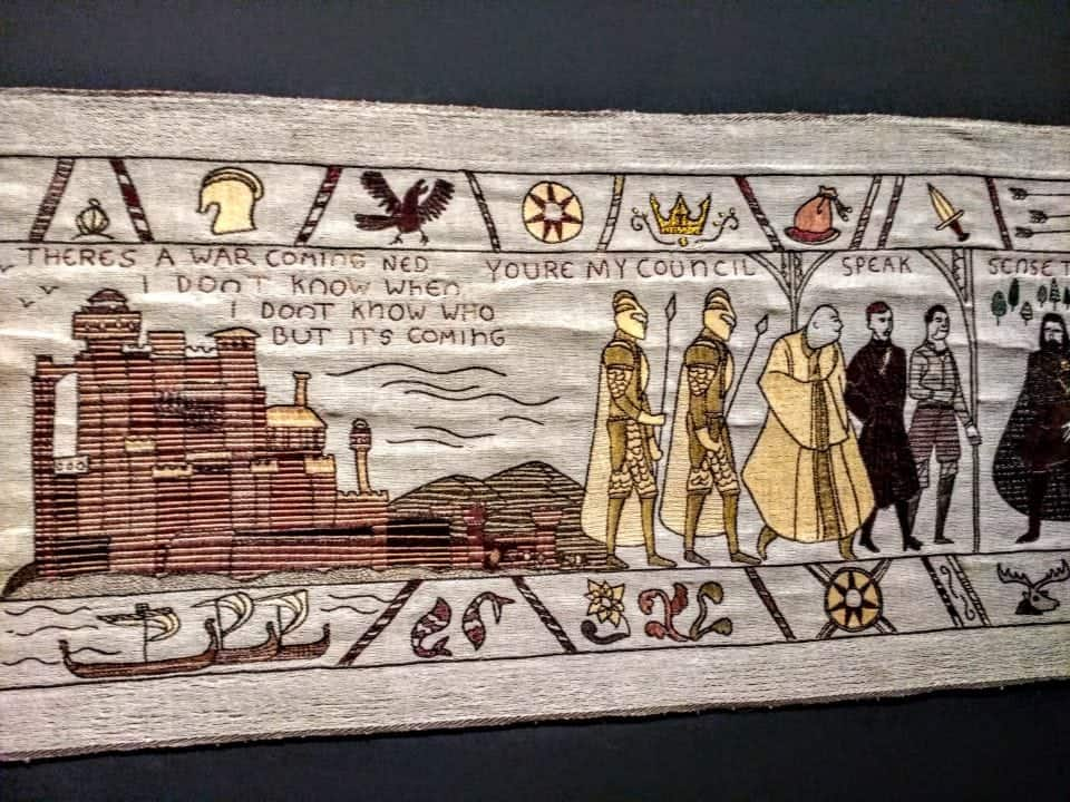 "Another panel from the Game of Thrones Tapestry -"" There is a war coming Ned"""